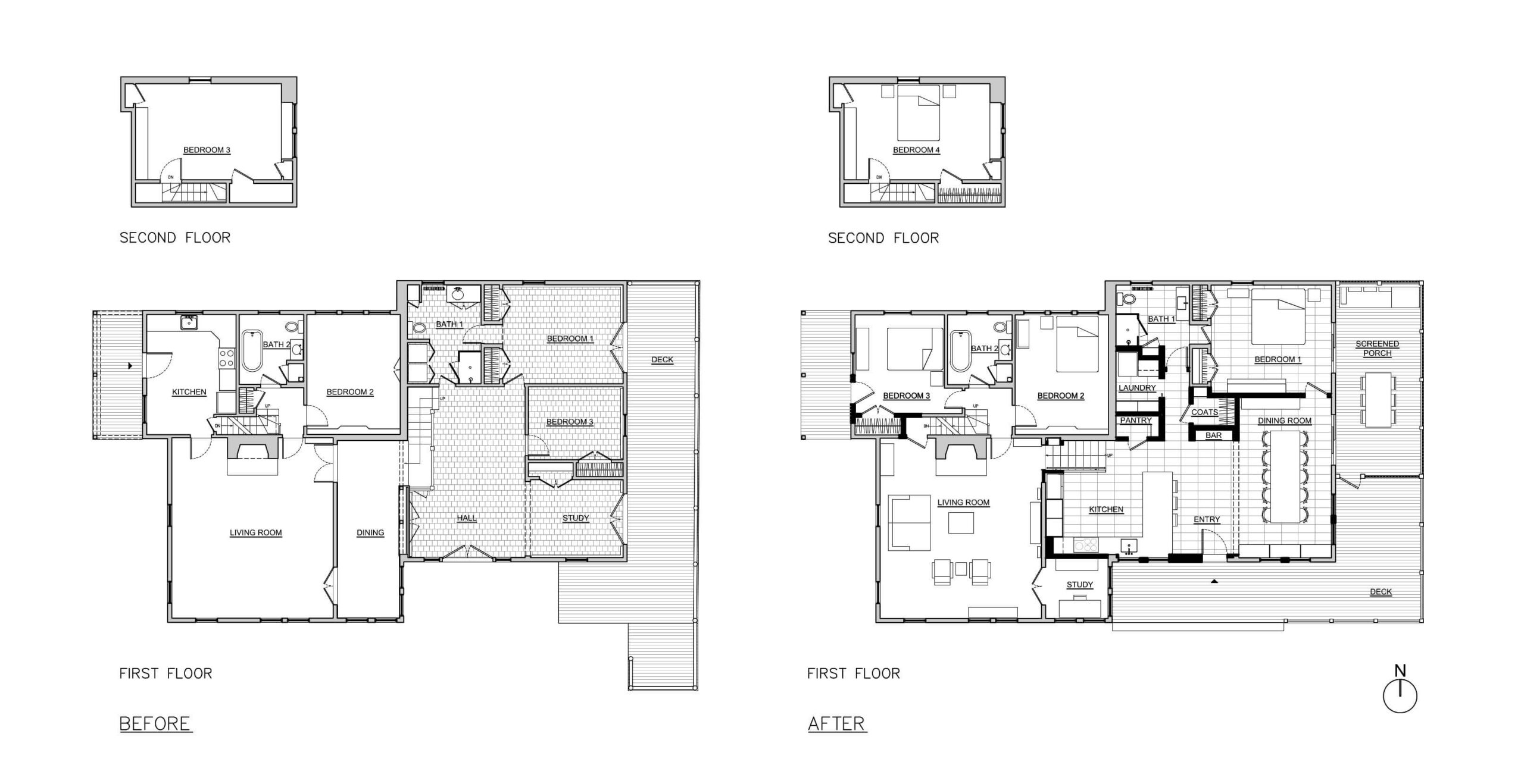 before and after floor plans of Connecticut house renovation