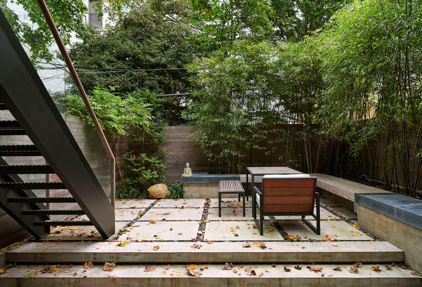 The split-level garden of this Park Slope addition has a lower level for cooking and an upper level for meditation.