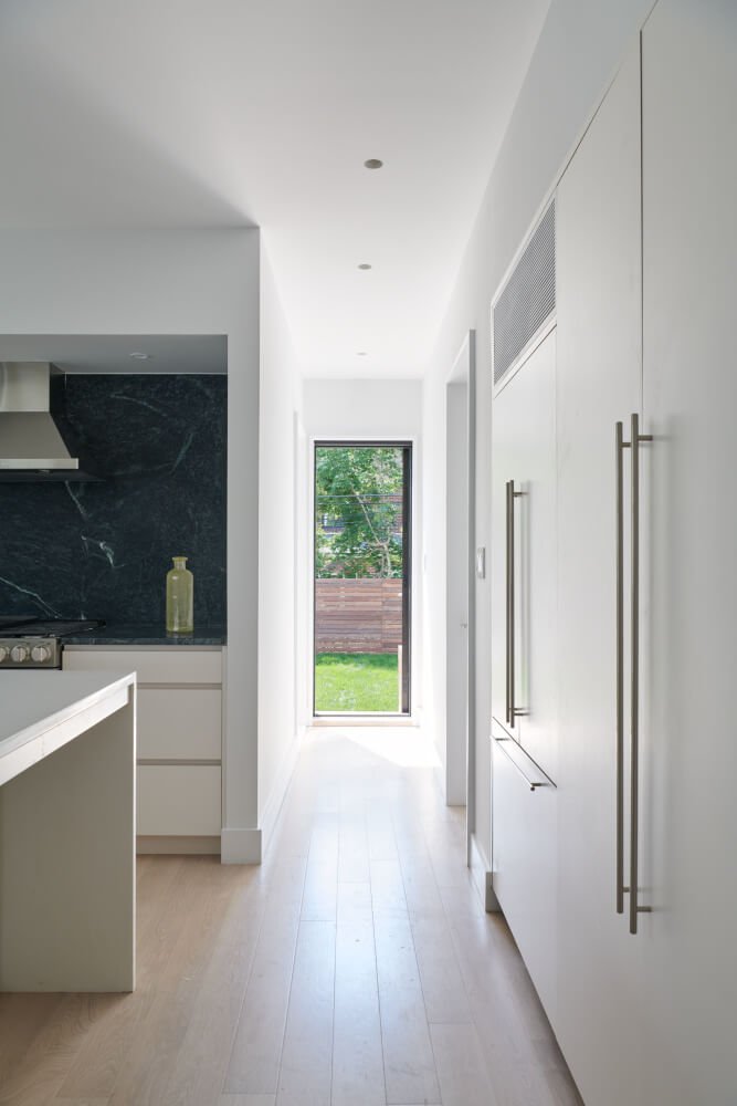 house in Queens kitchen with lacquered cabinets and soapstone slabs